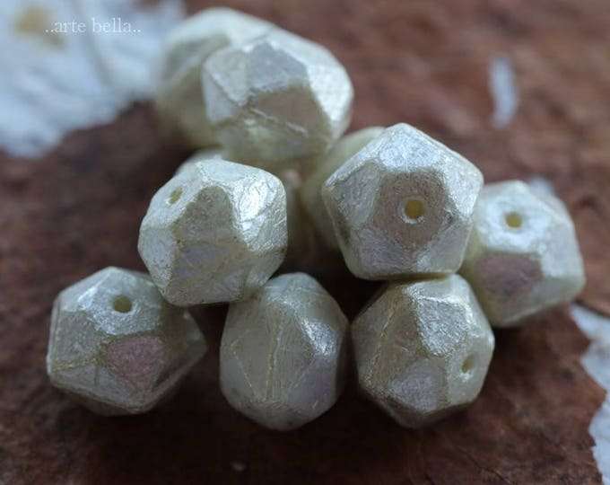 SILVERED IVORY NUGGETS No. 2 .. New 10 Picasso Czech Glass English Cut Beads 10x9mm (6086-10)