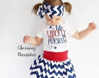 SALE Baby Girl 4th of July Outfit Patriotic, Memorial Day, Toddler Girl Clothes, Baby Onsie Outfits, Red Blue Independance Life Liberty Day