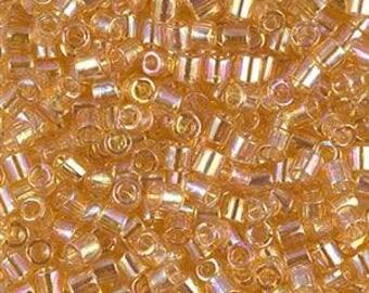 Size 8 DB-0100 Transparent Lt Topaz AB (Light Topaz AB) ® 8/0 Delicas  0100 - 33 gram Tube