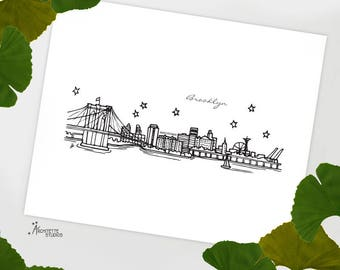 Brooklyn, New York - United States - Instant Download Printable Art - City Skyline Series