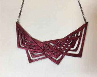 Deep Red metallic geometric tribal Leather Necklace