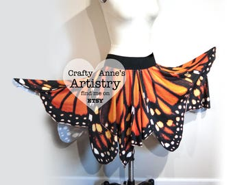 Monarch Butterfly Wing Skirt Fairy Wings adult, Monarch Halloween Costume or Renaissance Festival, Monarch Costume, Butterfly Wings Festival