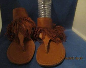 HIPPIE, Boho, FRINGED SANDALS, Flower Child,Close to Barefoot Shoes, Used but not Abused Sandals,Thong Open Toe Sandals
