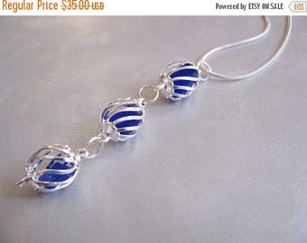 SEA GLASS SALE Sea Glass Necklace - Cobalt Blue Pendant - Beach Glass Jewelry - Caged Sea Glass