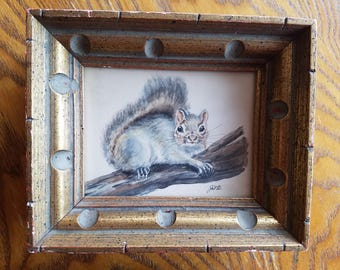Vintage Squirrel Original Artwork, Painting, Acrylic and Pencil, Signed, Spectacular Wooden Frame, Small