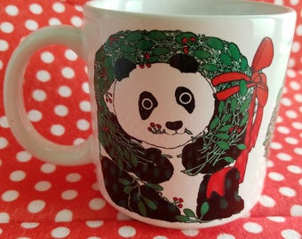 Vintage Taylor & Ng Mug, Cup, Christmas Panda with Wreath Limited Edition from 1985