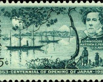 Ten (10) vintage unused postage stamps - Centennial of opening of Japan // 3 cent stamps