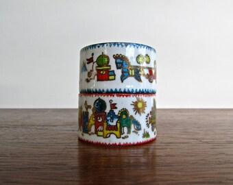 Michaela Frey Arta Austrian Enamel Napkin Rings, Toys & Trains Holiday Themed Hand Painted Enameled Napkin Rings
