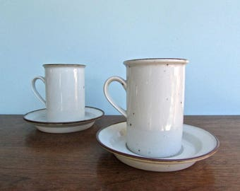 Niels Refsgaard Dansk Brown Mist Tall-Mug Dansk, Blue Backstamp, Denmark, Off-White w/ Brown-Flecks