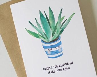 Printable Teacher Thank You Card / Teacher Appreciation Card / Thanks for Helping Me Learn and Grow - 5x7