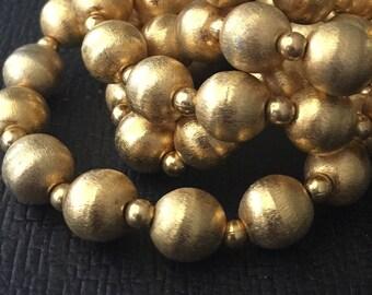 VINTAGE GOLD Beaded NECKLACE Brushed Gold beads Destash beading supplies