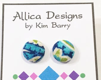 Earrings ~ Blue and Green Covered Button Earrings~  Free Shipping in the US