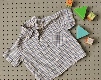 ON SALE 1950s Penney's Blue Plaid Shirt~Size 24 Months to 2t