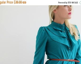 ON SALE 1970s Teal & Ruffle Dress /// Size Extra Small to Small