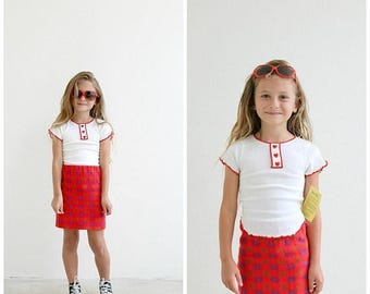 ANNIVERSARY SALE NOS, 1970s Sugar & Spice Heart Top /// Size 3t to 4t