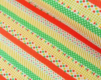 FABRIC YELLOW Geo Fun with Geometric Stripes Lecien    We combine shipping