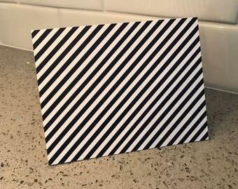 20 navy diagonal stripe note cards stationary
