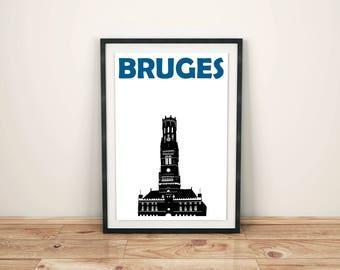 Bruges Print // Belgium Art Poster // Bruges Poster // Bruges Art // Belgian Art // Belgian Gift // Belgian Poster // Wedding Gift