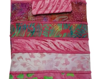 Nook or Kindle Fire Ipad Mini Sleeve in Pink Batik Fabrics Back to School