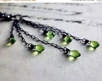Peridot Earrings, Gemstone Earrings, Chandelier Earrings, Lime Green, Sterling Silver, Dangle Earrings, Oxidized, Gray, PoleStar, grass