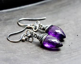 Drop Earrings, Amethyst Earrings, Dangle Earrings, February Birthstone, Silver Jewelry, Amethyst Jewelry, Birthstone Jewelry, PoleStar