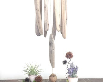 home decor driftwood hanging, hand painted wood art, outdoor garden art, mixed media art, nature inspired art, wall hanging, wind-chime