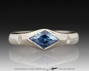 14K Palladium White Gold Lozenge Blue Sapphire Ring