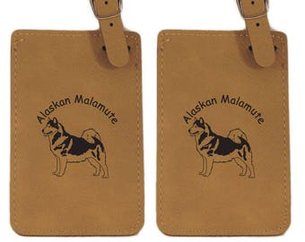 Alaskan Malamute Standing Luggage Tag 2 Pack - Free Shipping