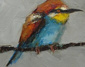 BEE EATER BIRD Giclee Print Art Colette Davis 4x4 Painting Oil