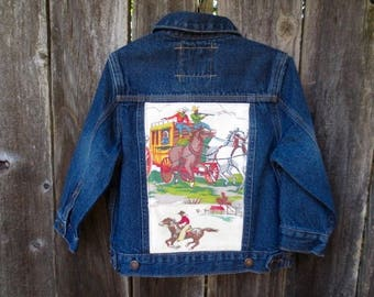 Upcycled Boy's Vintage Denim Jacket Cowboy Country Western Rockabilly Vintage Barkcloth Fabric Blue Jean Coat Outerwear Size 3T