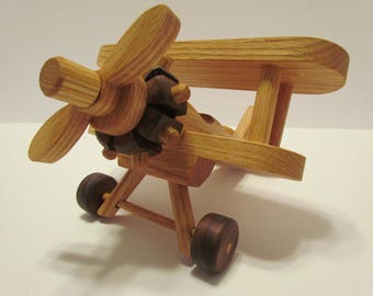 Wooden Small Airplane Bi Plane  toy Heirloom Quality  Oak and Mahogany Beautifully hand  finished with all natural beeswax