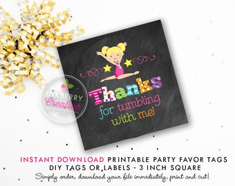Girls Gymnastics Tumble Birthday Party Favor Tags (Blonde Hair) - Chalkboard Style - Printable 3 inch Square - Instant Download PDF File