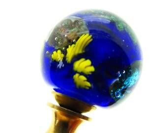Venetian Glass Lamp Finials - Cobalt Blue, Golds and Sparkling Greens, Planet Design,Silver-Brass or Nickel Finial Hardware Lampwork Glass