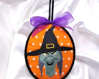 Finished Halloween Evil Wicked Witch Embroidery  Ornament