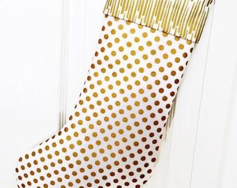 CHRISTMAS STOCKING - Gold and White Stocking - Large Christmas Stocking - Free Shipping to U.S.