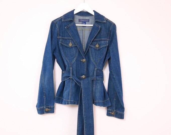Modern | Baccini Denim Jean Jacket with Belt Size L