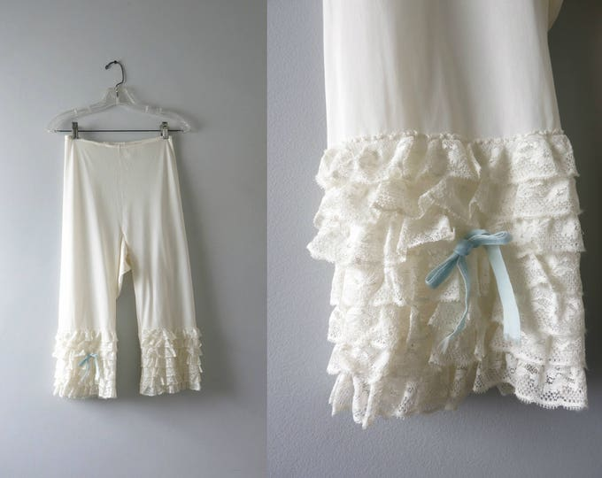 Vintage White Bloomers | 1960s White Tricot Nylon Bloomers Pantaloons Tiered Lace S