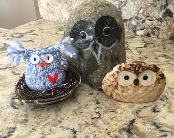 MAX the Blue and White Handknit Owl..... friends and nest are not included!