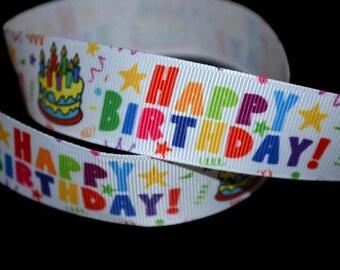 Happy Birthday Ribbon, Cake Ribbon, Party Ribbon, Centerpiece Ribbon, Gift Basket Ribbon, Birthday Wreath, Celebration Ribbon
