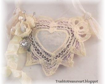 Lavender Heart Lace Sachet