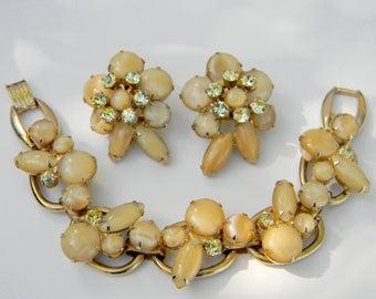 Vintage Juliana Delizza & Elster Yellow Moonglow Bracelet and Earrings Demi Parure