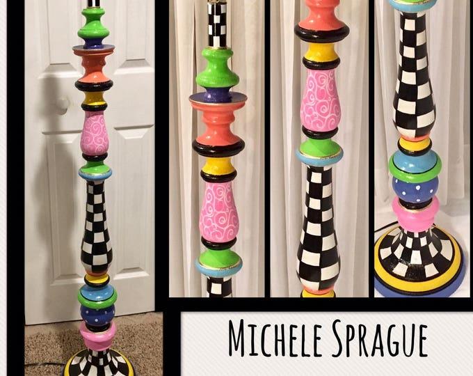 Whimsical Painted Floor Lamp, Painted Lamp, Floor Lamp, Custom Painted Lamp