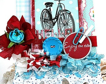 cottage chic card-SUMMER BICYCLE-hello ENJOY the ride all occasion greeting