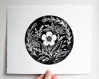 Floral Linocut Print