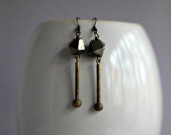 50%OFF Modern Pyrite Earrings, Industrial Machined Brass Drops, Minimalist, Geometric, Metallic Black, Distressed, Grungy