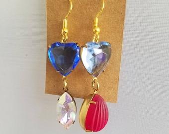 50%OFF Mismatched Crystal Earrings, Red, Blue Crystal, Beaded Earrings, Summer Earrings Under 10