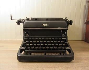 Antique black Royal typewriter- model KMM- 1940s- solid, weighty, metal