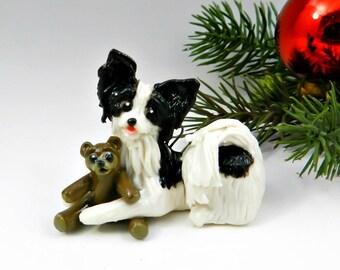 Papillon Black White Teddy Bear Christmas Ornament Figurine Porcelain Clay