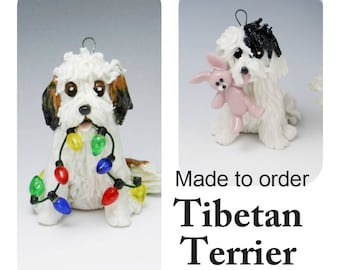 Tibetan Terrier Dog Made to Order Christmas Ornament Figurine in Porcelain
