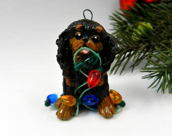 English Toy Spaniel King Charles Christmas Ornament Figurine Porcelain